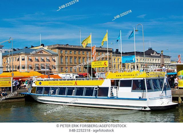 Sightseeing tour boat, Kauppatori, main market square, Helsinki, Finland, Europe