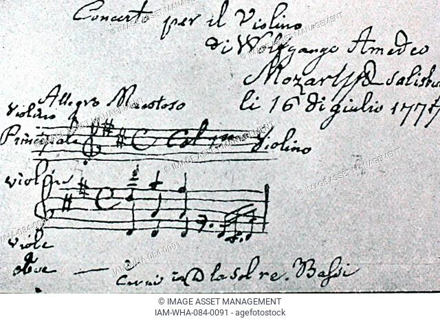 Handwritten sheet music by Wolfgang Amadeus Mozart (1756-1791) an Austrian composer of the classical era, at his piano. Dated 18th Century