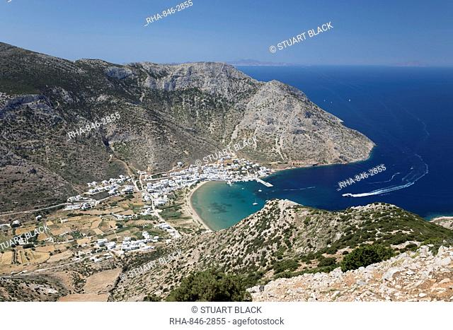 View over Kamares and Kamares Bay from Agios Simeon church, Sifnos, Cyclades, Aegean Sea, Greek Islands, Greece, Europe