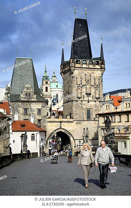 Czech Republic, Prague, historic centre listed as World Heritage by UNESCO, Charles Bridge (Karluv Most), the Gothic tower at the entrance of the bridge on the...