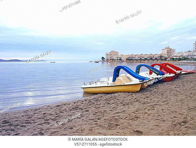 Beach at dusk. La Manga del Mar menor, Murcia, Spain