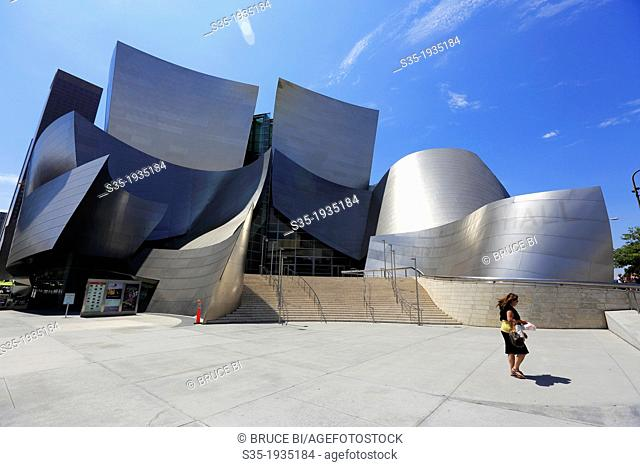 The exterior view of Walt Disney Concert Hall. Los Angeles. California. USA