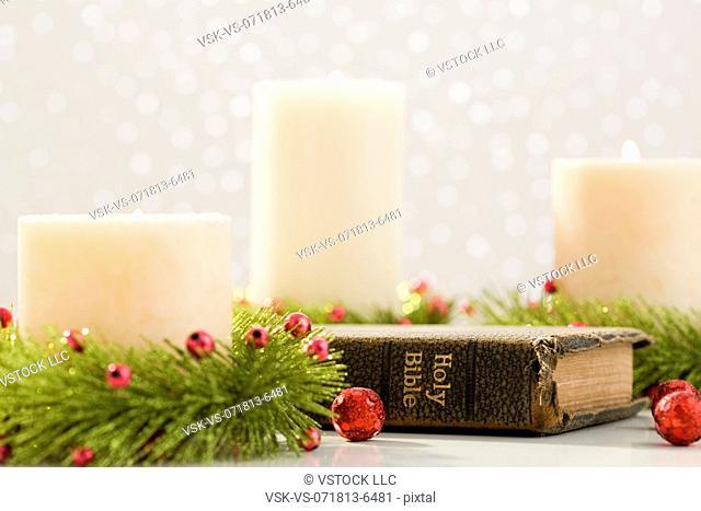 Christmas candles and bible
