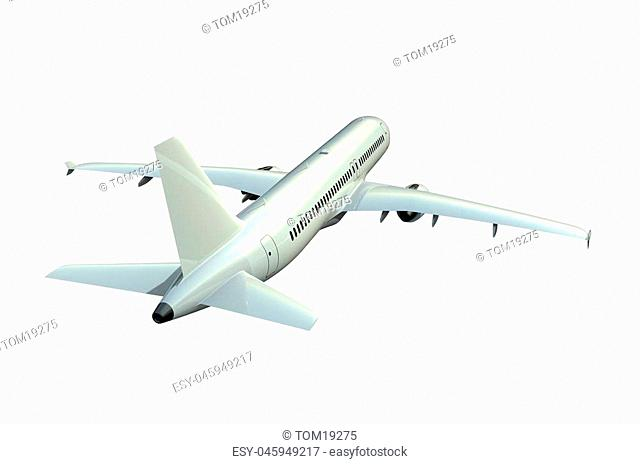 Airplane isolated on white background 3D rendering