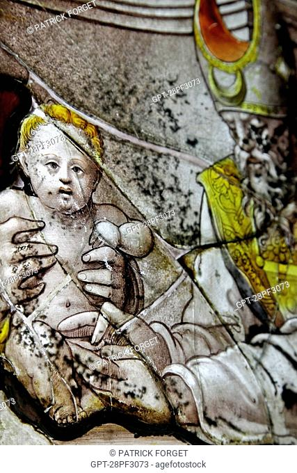 DETAIL OF THE CIRCUMCISION OF THE CHILD, STAINED-GLASS WINDOWS FROM THE RENAISSANCE, INTERNATIONAL STAINED-GLASS CENTER, CIV, CHARTRES, EURE-ET-LOIR 28, FRANCE