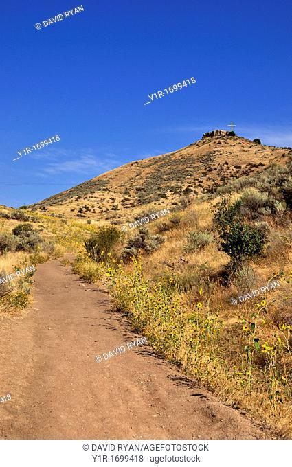 USA, Idaho, Boise, Trail up Table Rock Butte