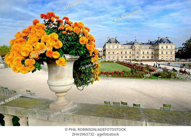 Paris, France. Jardin du Luxembourg (6th Arr) Palais du Luxembourg and flowers