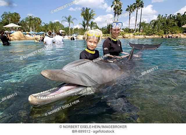 Mother and child playing with a Dolphin (Tursiops truncatus), Discovery Cove, Orlando, Florida, USA, North America