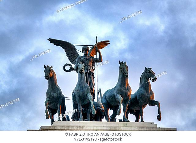 Statue of the goddess Victoria riding on quadriga on the top of the Monument to Vittorio Emanuele II, Rome, Italy