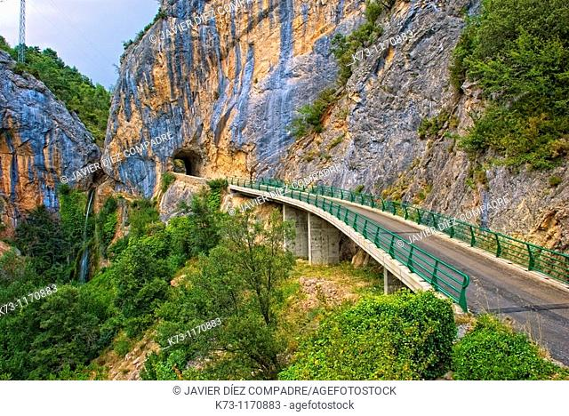 Waterfall. Tartales de los Montes. Valle de Valdivielso. Burgos province. Castilla y Leon. Spain