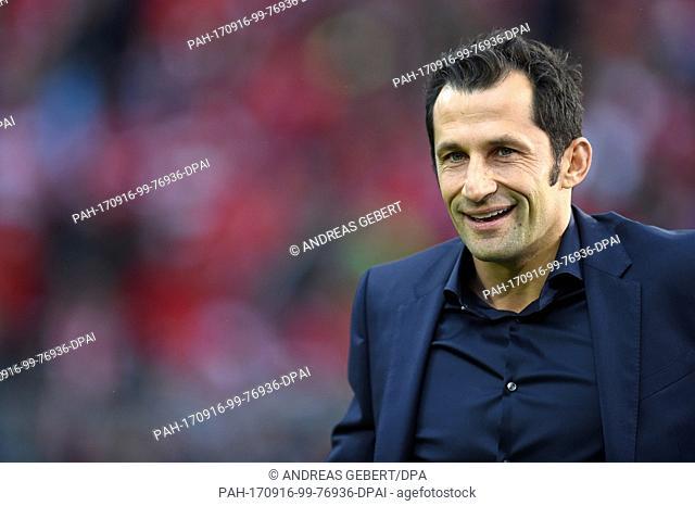 Munich's sports director Hasan Salihamidzic can be seen before the beginning of the German Bundesliga soccer match between Bayern Muenchen and FSV Mainz 05 in...