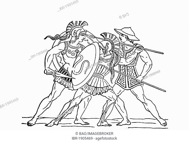 Hellenic warriors, woodcut from 1880