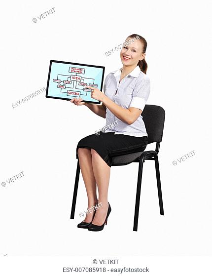 happy woman holding touch pad with business strategy