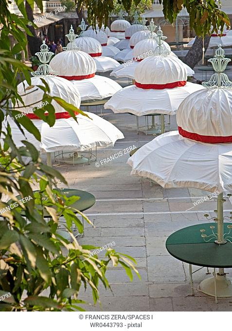 Umbrellaed Tables in the Jag Mandir Palace