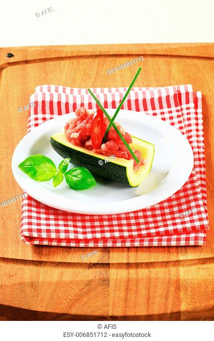 Meat stuffed courgette