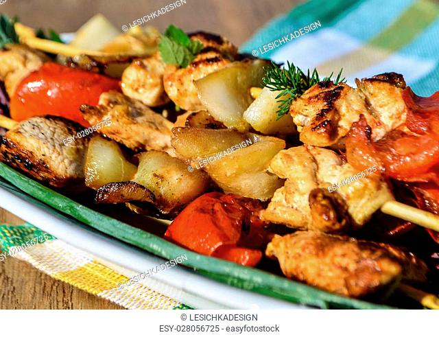 Chicken shish kebab with zucchini and tomatoes