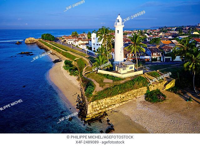 Sri Lanka, Southern Province, South Coast beach, Galle town, Dutch fort, UNESCO World Heritage site, aerial view