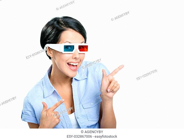 Pointing with forefingers girl in 3D spectacles, isolated on white