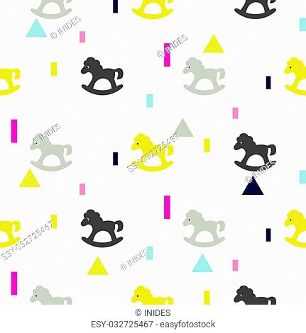 Rocking horse gray, pink and yellow kid pattern. Baby horse toy vector seamless pattern for fabric print and apparel