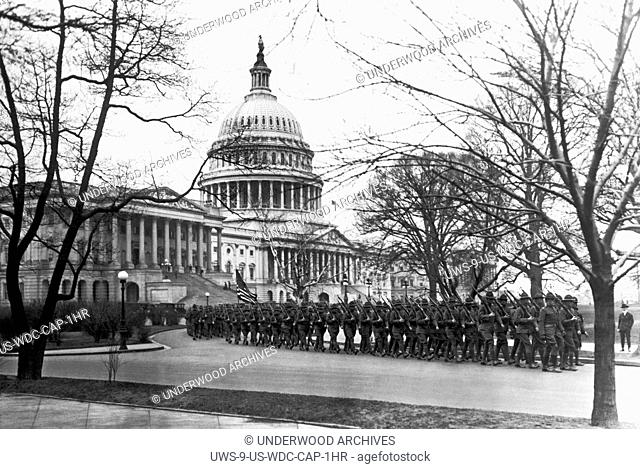 Washington, D.C.: April 1, 1920.The 63rd Infantry, which is the bodyguard for the nation's Capitol, marching in a preparedness drill in front of the Capitol...