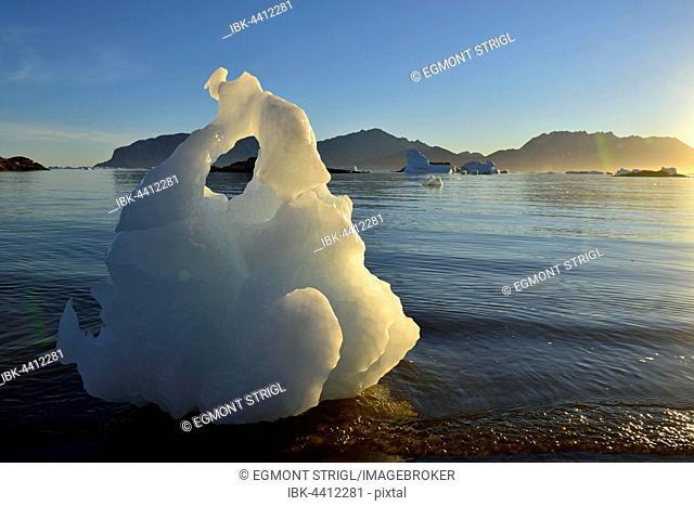 Small iceberg, natural ice sculpture, Sermilik Fjord, East Greenland, Greenland