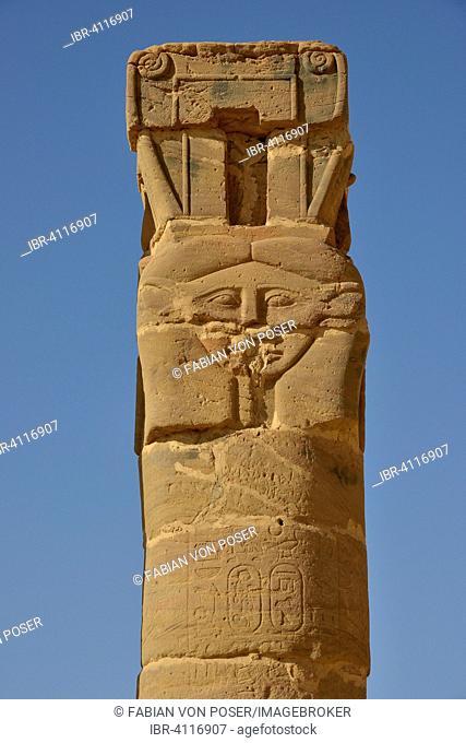 Column, Temple of Hathor, Gebel Barkal, Karima, Northern state, Nubia, Sudan