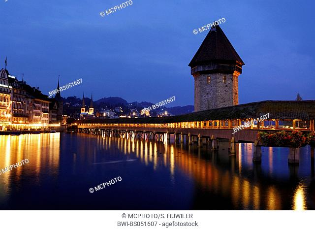 Chapel Bridge and water towr at night, Switzerland, Lucerne