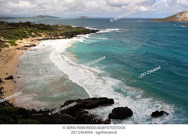 Makapu'u beach at the eastern end of the island. Views, with Manana Island. O'ahu. Hawaii. Beautiful Makapuu Beach and beach park