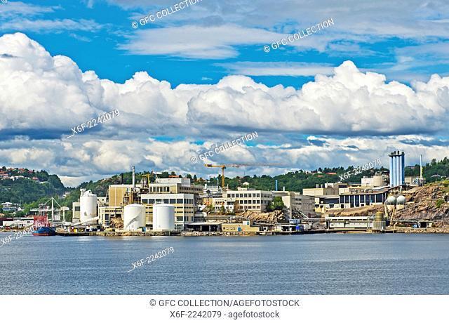 Industrial installation of the nickel company Glencore Nikkelverk in the port city of Kristiansand, Norway