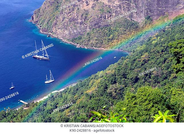 Bay with yachts at the foot of Petit Pition seen from above with rainbow, St Lucia, Windward Islands, Lesser Antilles, Eastern Caribbean Islands, West Indies