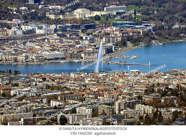 Panorama of Geneva town and Geneva Lake in Switzerland seen from Mont Saleve in France, Mont Saleve is located just behind Swiss-French border
