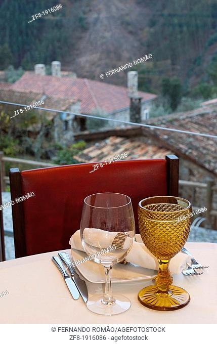 Table set for dinner at a restaurant, Casal São Simão-Portugal