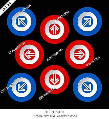 red and blue arrows in eight directions on a black background