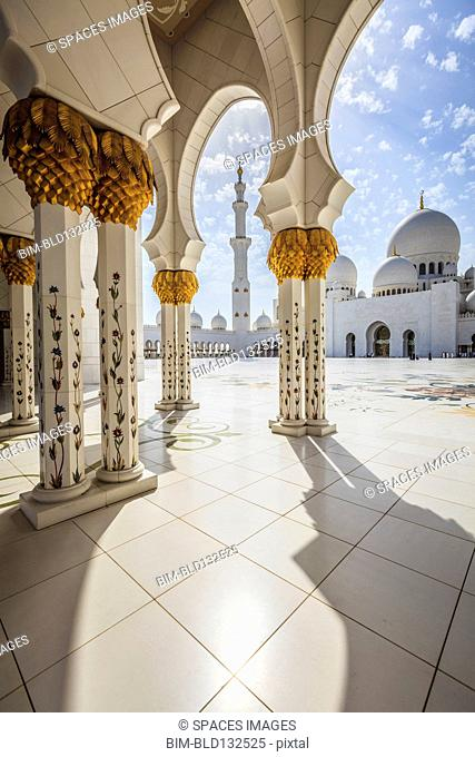 Ornate columns of Sheikh Zayed Grand Mosque, Abu Dhabi, United Arab Emirates