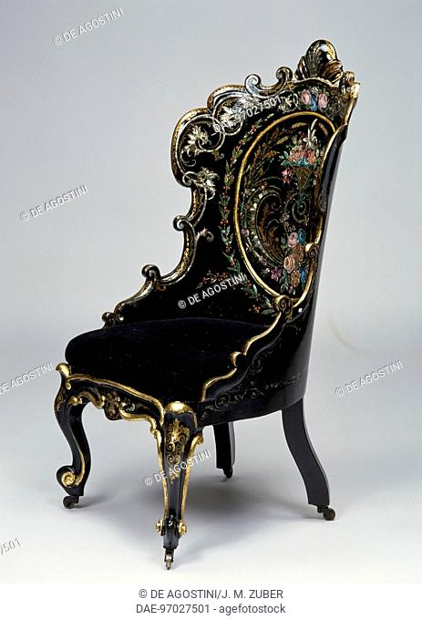Second Empire style (Napoleon III) blackened wood and papier mache with black lacquer finish bergere with mother of pearl inlays
