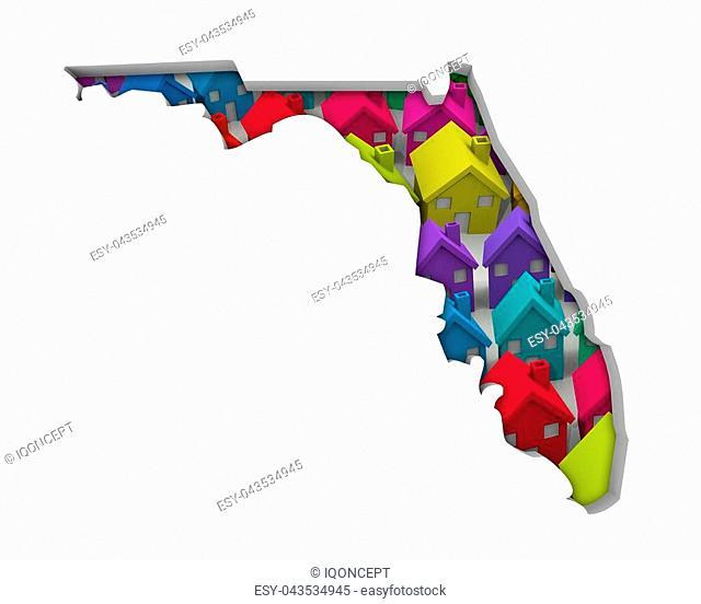 Florida FL Homes Homes Map New Real Estate Development 3d Illustration