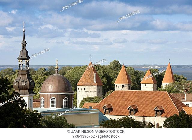 Towers of Old Medieval Tallinn Town Wall and Church From Kohtuotsa Viewing Platform, Estonia