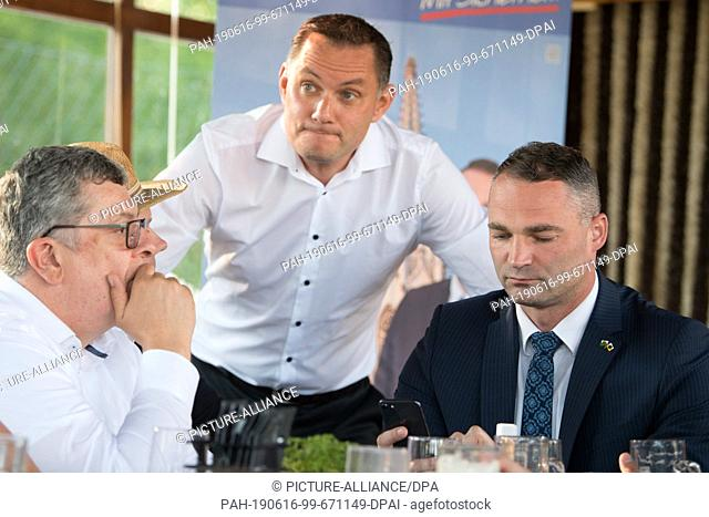 16 June 2019, Saxony, Görlitz: The AfD politician Carsten Hütter (l-r), Tino Chrupalla, AfD Member of Parliament, and Sebastian Wippel