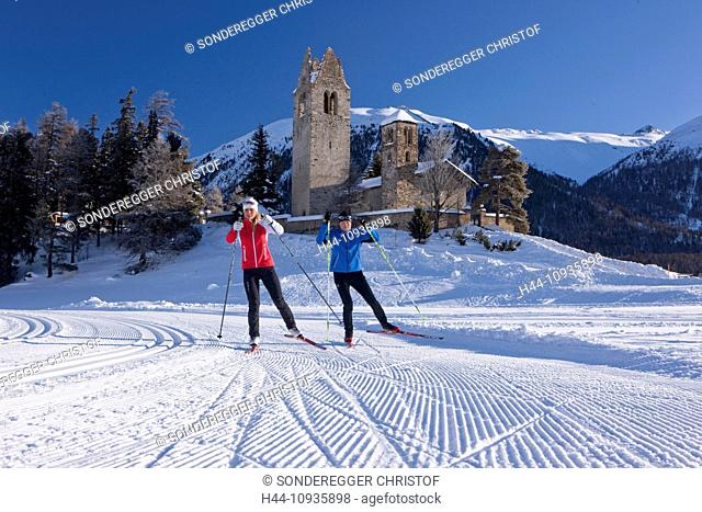 cross-country, ski, Celerina, winter, canton, GR, Graubünden, Grisons, Engadin, Engadine, Oberengadin, San Gian, cross-country, ski, winter sports, Switzerland