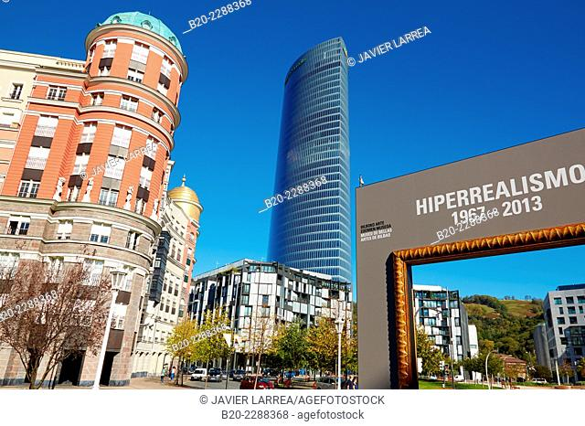 Bilbao Fine Arts Museum, Iberdrola tower, Plaza Euskadi, Bilbao, Bizkaia, Basque Country, Spain
