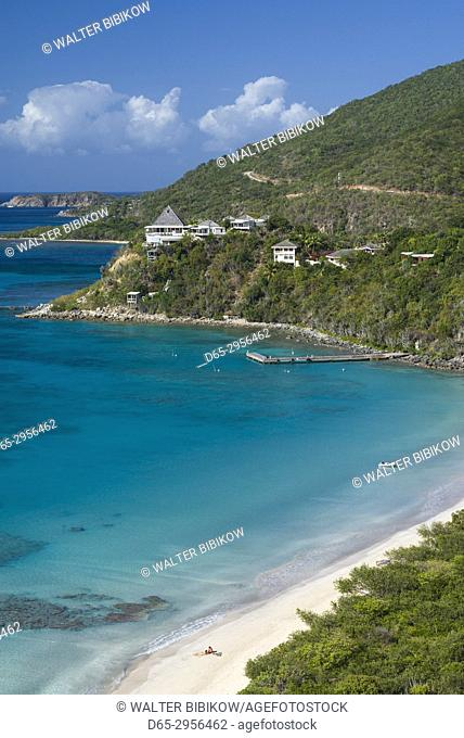 British Virgin Islands, Virgin Gorda, Pond Bay, elevated view of Pond Bay and Savanah Bay Beach
