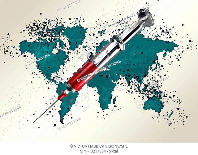 World map with syringe, illustration