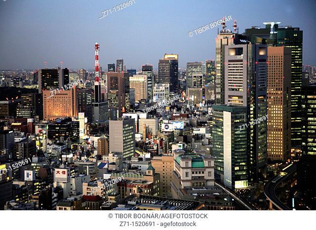 Tokyo skyline at night, general aerial view, Japan