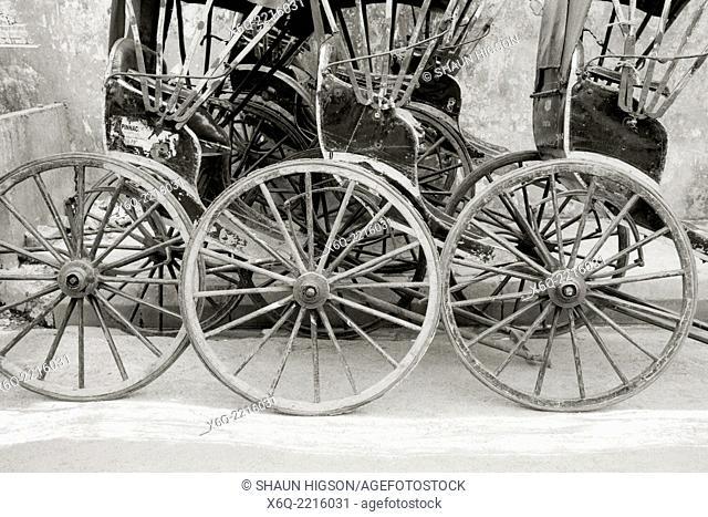 Rickshaws in Calcutta Kolkata in West Bengal in India in South Asia