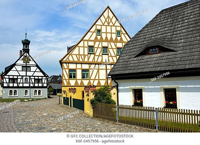 Industrial heritage complex Saigerhütte with Smelters' Inn, behind, and hotel building, Grünthal, Olbernhau, Mining Cultural Landscape Erzgebirge mountains