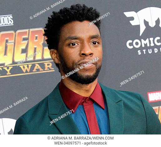Avengers: Infinity War Premiere held in Los Angeles, California Featuring: Chadwick Boseman Where: Los Angeles, California