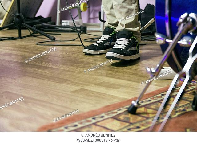 Feet of a musician during a music rehearsal