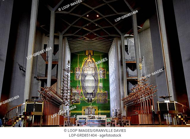 A view of the nave of Coventry Cathedral and the Graham Sutherland tapestry Christ in Glory