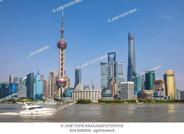 China, Shanghai City, Pudong District, Lujiazui Area,Oriental Pearl Tower, Jin Mao Bldg. ,World Financial Center and Shanghai Tower