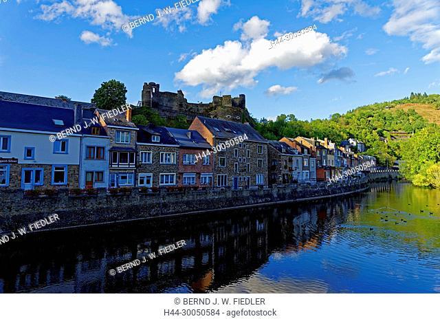 River, Ourthe, house line, local view, La Smelling Roche-en-Ardenne Belgium
